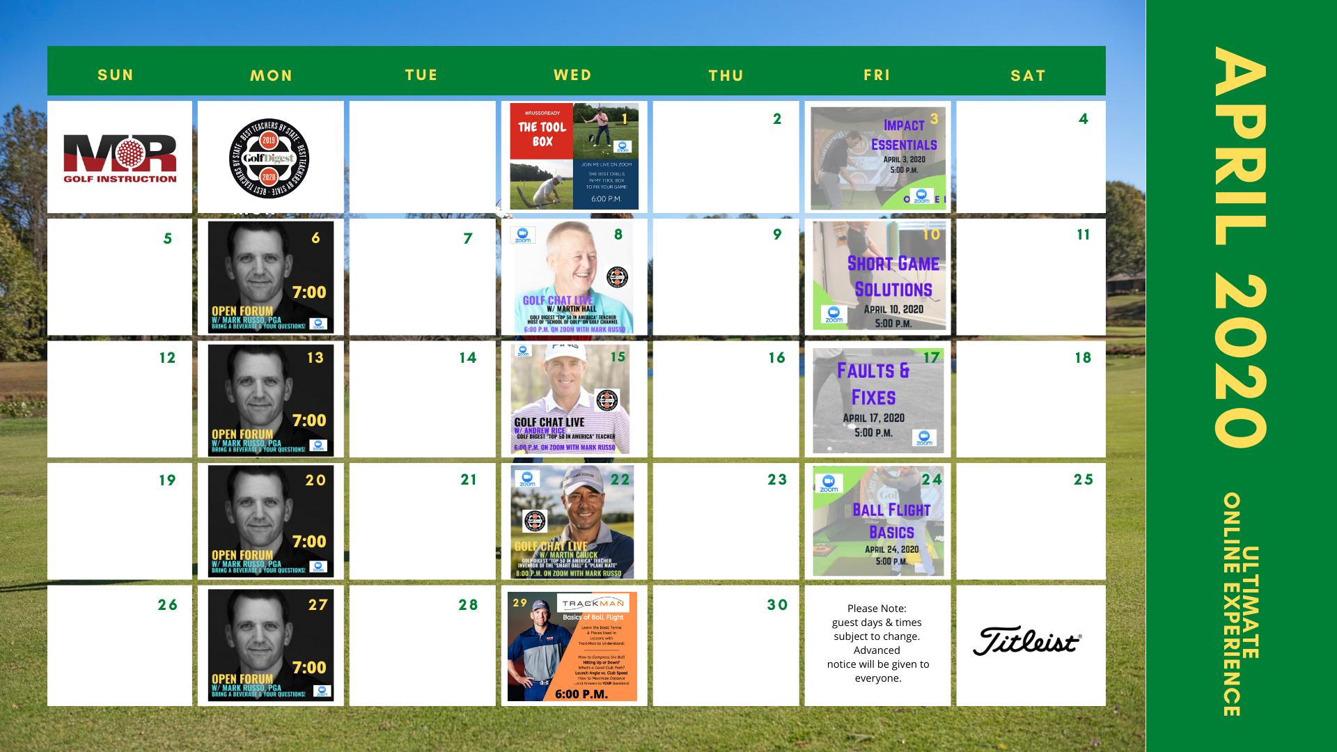 MR Golf Online Instruction Calendar